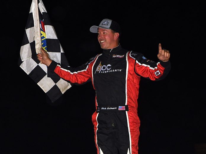 Rick Eckert celebrates after winning a super late model feature Saturday at Georgetown Speedway. (Rich Kepner Photo)