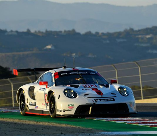 Laurens Vanthoor and Earl Bamber delivered a victory for Porsche on Sunday at WeatherTech Raceway Laguna Seca. (IMSA Photo)