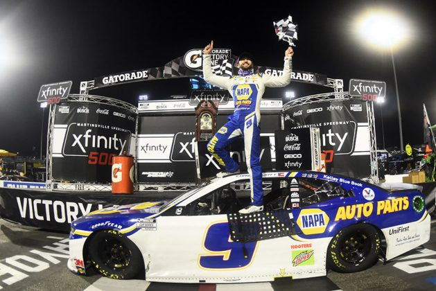 Chase Elliott celebrates after winning Sunday's Xfinity 500 at Martinsville Speedway. (Jared C. Tilton/Getty Images Photo)