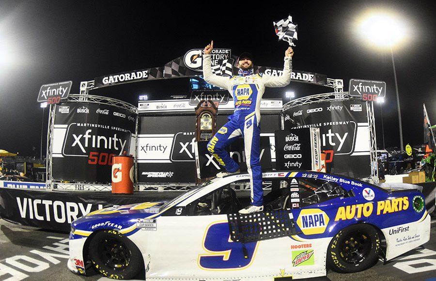 Chase Elliott celebrates after winning Sunday's Xfinity 500 at Martinsville Speedway. (Jared C. Tilton/Getty Images Photo)