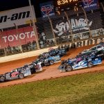 The field for Thursday's World of Outlaws Morton Buildings Late Model Series event prepares to go racing Thursday at The Dirt Track at Charlotte. (Shawn Cooper Photo)