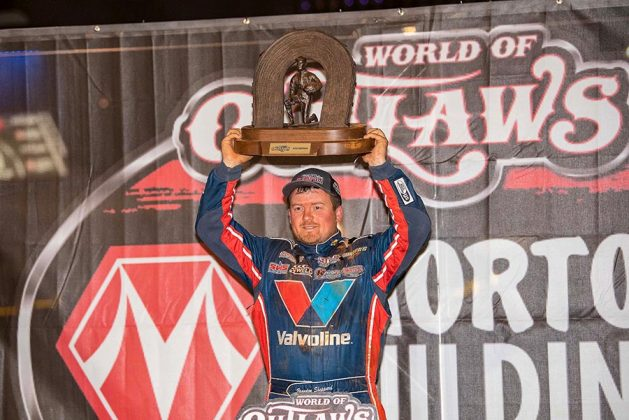 Brandon Sheppard claimed his third World of Outlaws Morton Buildings Late Model Series championship Thursday at The Dirt Track at Charlotte. (Shawn Cooper Photo)