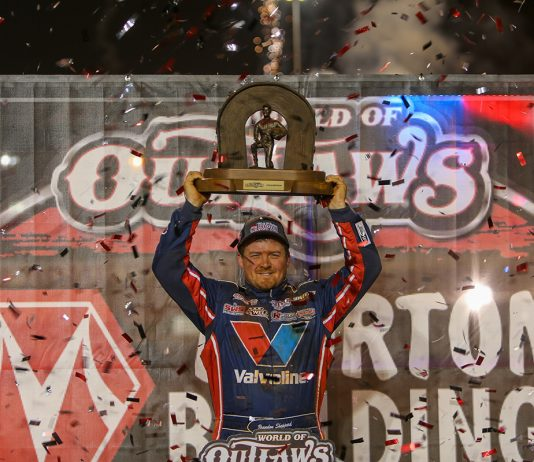 Brandon Sheppard after winning his third World of Outlaws Morton Buildings Late Model Series title. (Adam Fenwick Photo)