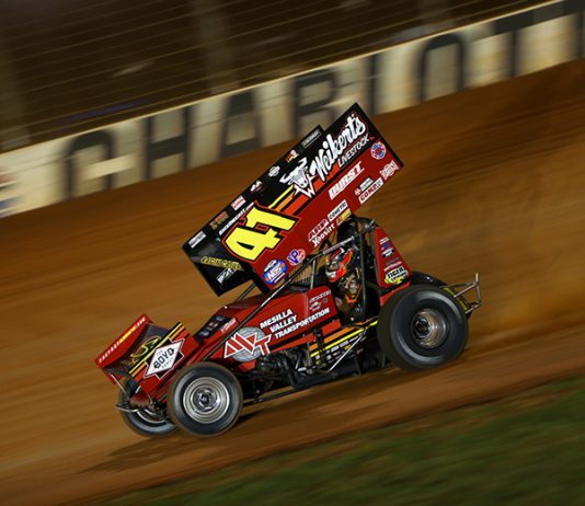 David Gravel on his way to victory Friday at The Dirt Track at Charlotte. (Adam Fenwick Photo)
