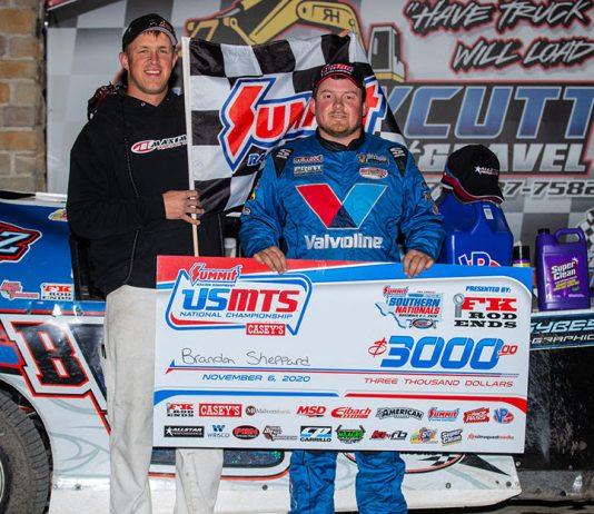 Brandon Sheppard won Friday night's USMTS feature at RPM Speedway. (USMTS photo)