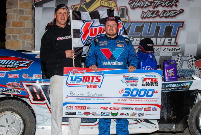 Brandon Sheppard won Friday night's USMTS feature at RPM Speedway. (USMTS photo)