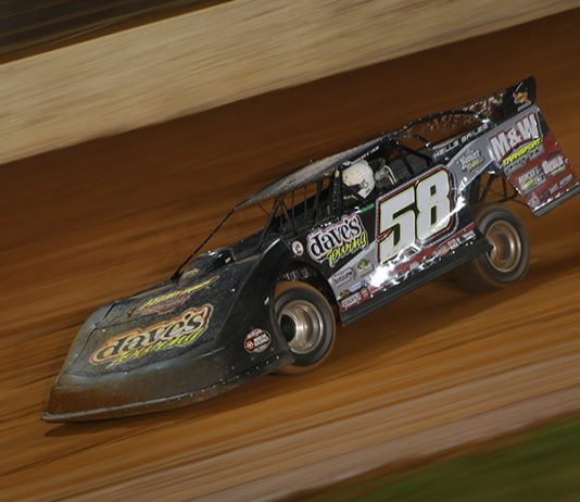 Ross Bailes, shown here earlier this week at The Dirt Track at Charlotte, won Friday's Ultimate Southeast Series event Lancaster Speedway. (Adam Fenwick Photo)