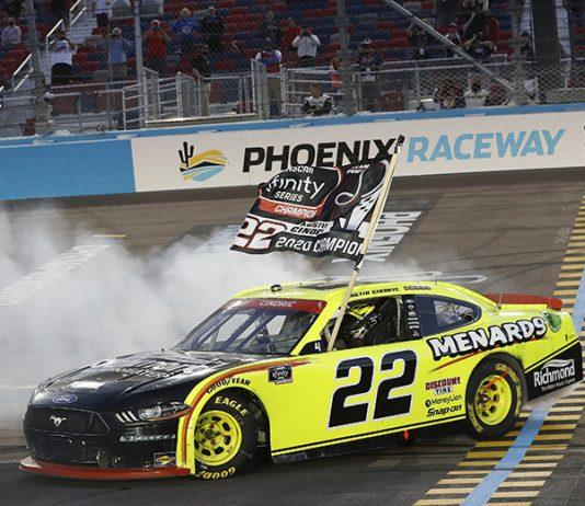 Austin Cindric celebrates after winning the NASCAR Xfinity Series championship Saturday at Phoenix Raceway. (HHP/Harold Hinson Photo)