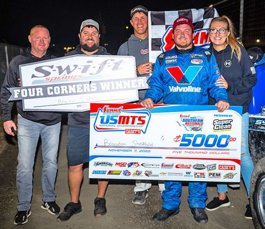 Brandon Sheppard in victory lane at RPM Speedway. (USMTS photo)