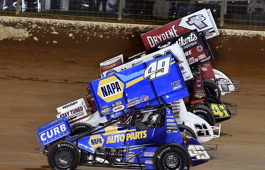 The field for Saturday's World of Outlaws NOS Energy Drink Sprint Car Series event prepares to go racing Saturday at The Dirt Track at Charlotte. (Frank Smith Photo)