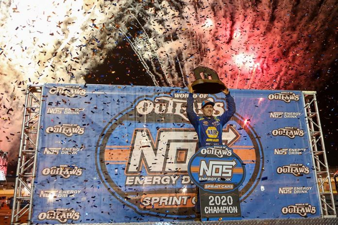 Brad Sweet celebrates after claiming his second-straight World of Outlaws NOS Energy Drink Sprint Car Series title Saturday at The Dirt Track at Charlotte. (Adam Fenwick Photo)