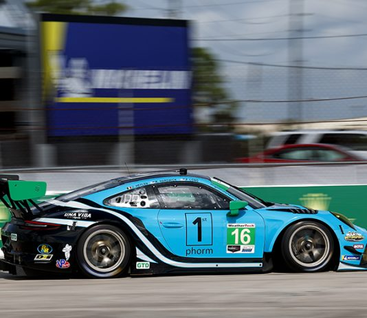 Jan Heylen put the No. 16 Porsche on the GT Daytona class pole for the Mobil 1 Twelve Hours of Sebring. (IMSA Photo)