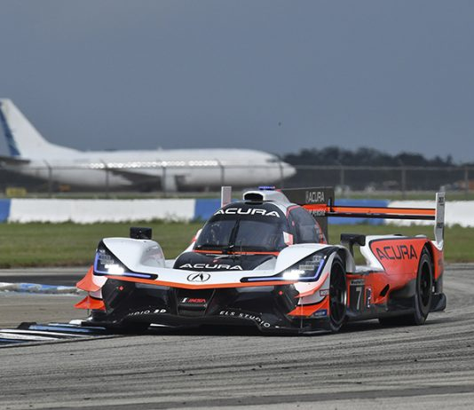Ricky Taylor put the No. 7 Acura Team Penske Acura ARX-05 DP on the pole for the Mobil 1 Twelve Hours of Sebring. (IMSA Photo)