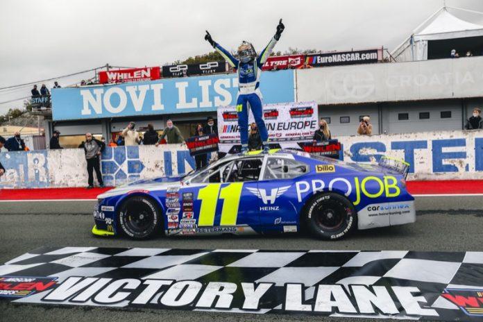 Stienes Longin celebrates after winning Saturday's EuroNASCAR PRO event at Automotodrom Grobnik. (Stephane Azemard/NASCAR Photo)