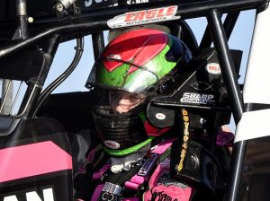 McKenna Haase sits in her race car. (Frank Smith Photo)