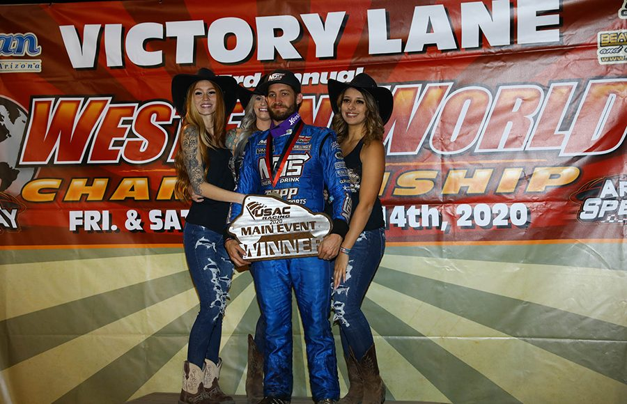 Justin Grant poses in victory lane after winning the USAC/CRA and USAC Southwest sprint car portion of Friday's Western World Championship opener at Arizona Speedway. (Ivan Veldhuizen Photo)