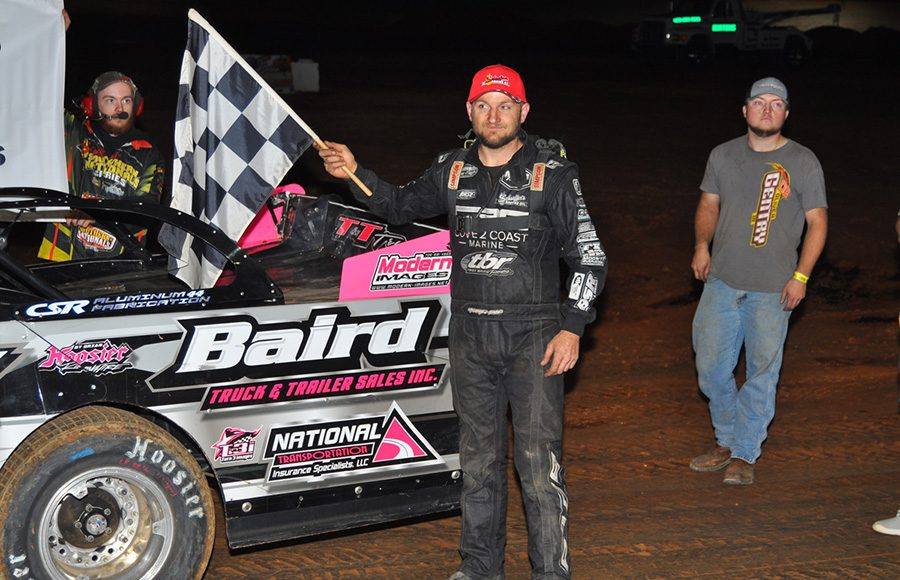Michael Page poses in victory lane after winning Saturday's Fall Nationals Series event at Boyd's Speedway. (Michael Moats Photo)