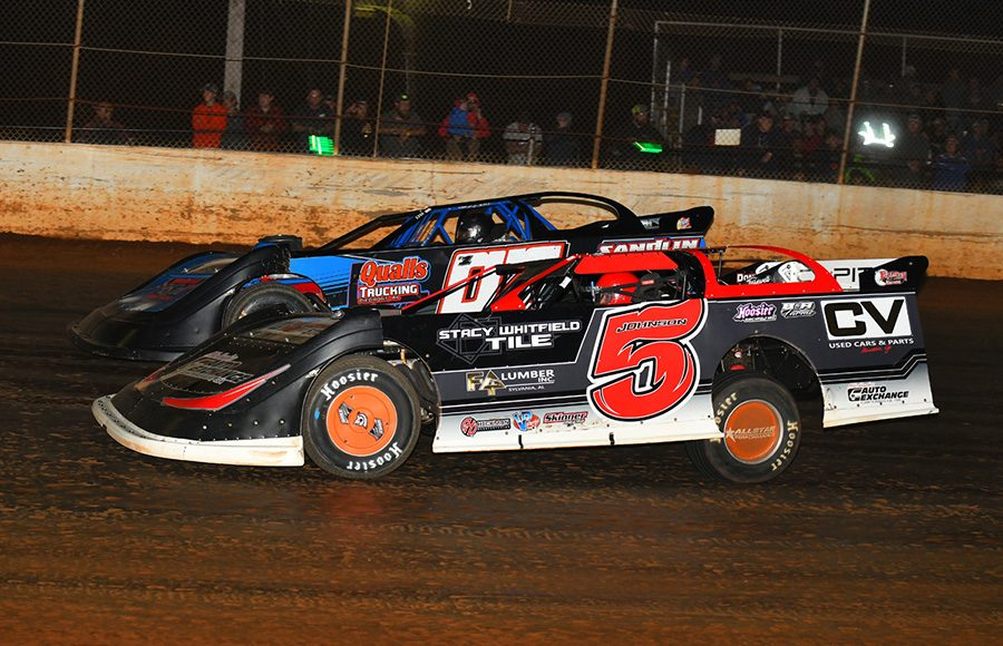 Ronnie Johnson (5) tries to take a spot from Todd Morrow during Saturday's Fall Nationals Series race at Boyd's Speedway. (Michael Moats Photo)