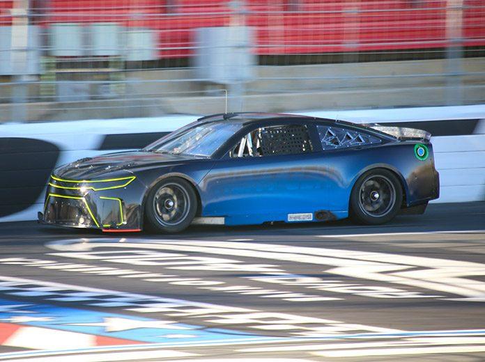 Kurt Busch behind the wheel of one of two Next Gen race cars Monday on the Charlotte Motor Speedwy ROVAL. (Adam Fenwick Photo)