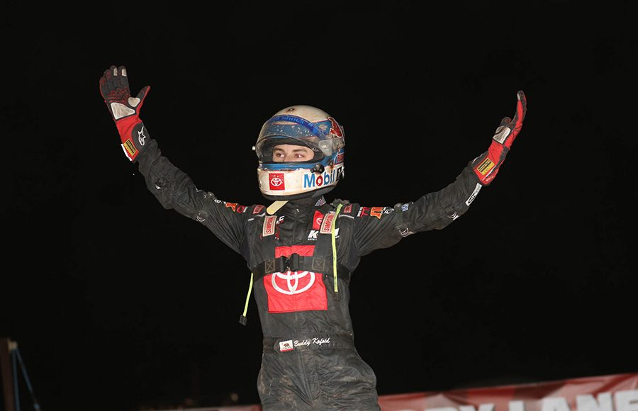 Buddy Kofoid celebrates after winning the USAC NOS Energy Drink National Midget Series feature during Saturday's Western World Championship finale at Arizona Speedway. (Ivan Veldhuizen Photo)