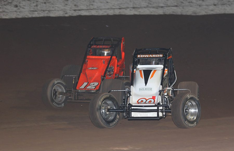 Kyle Edwards (39) battles Stevie Sussex during the USAC/CRA and USAC Southwest sprint car portion of Friday's Western World Championship opener at Arizona Speedway. (Ivan Veldhuizen Photo)