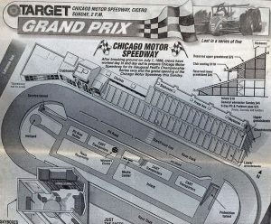 An overhead look at Chicago Motor Speedway, which was in operation from 1999 to 2002.