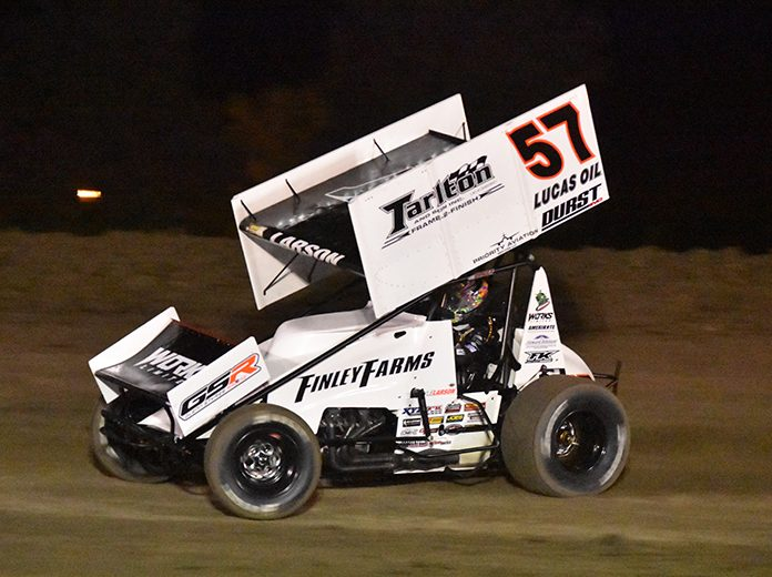 Kyle Larson got back to his winning ways Friday night at Merced Speedway in 360 sprint car competition. (Joe Shivak Photo)