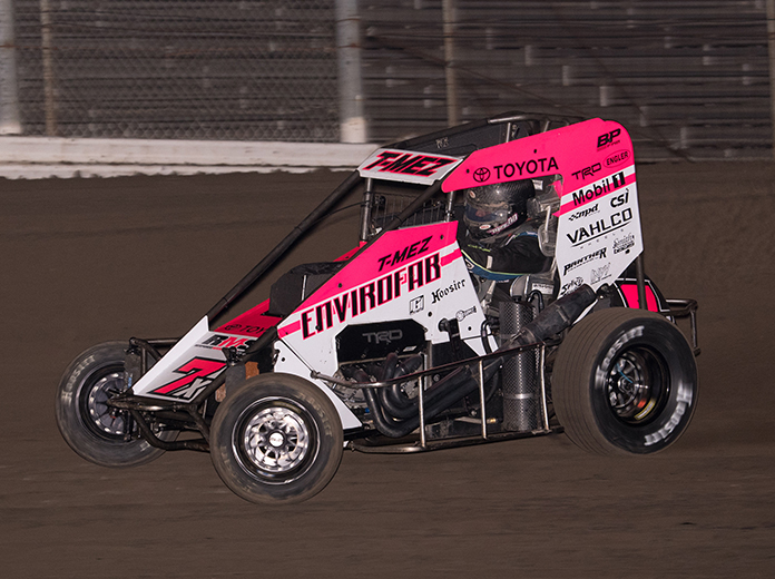 Thomas Meseraull on his way to victory Friday at Merced Speedway. (Devin Mayo Photo)