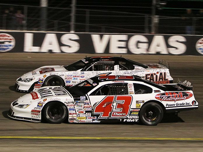 Derek Thorn (43) on his way to victory Saturday at The Bullring at Las Vegas Motor Speedway. (Barry Ambrose Photo)