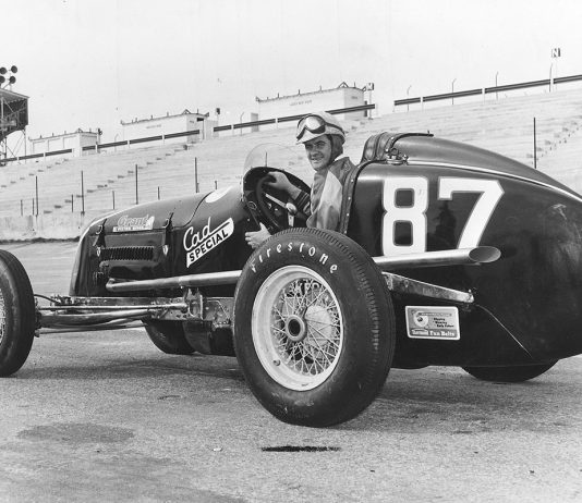 NASCAR's Speedway Division featured older Indianapolis-type open wheel cars using American passenger car engines instead of the elaborate Offy racing engine. For all intents and purposes, the division lasted only one season. NASCAR star Buck Baker won the Speedway Division championship in its only full season of 1952. (Photo by ISC Archives via Getty Images)