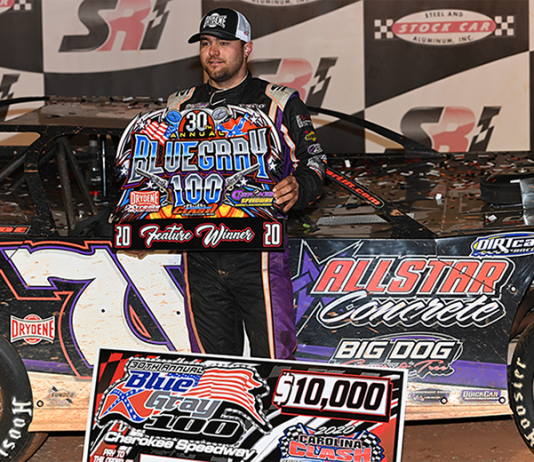 Brandon Overton won the Blue Gray 100 on Sunday at Cherokee Speedway. (Kevin Ritchie Photo)