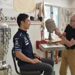 October 7, 2020 2020 Indianapolis 500 winner Takuma Sato sitting at Sculptor William Behrends Studio for BorgWarner. Tryon, North Carolina USA ©2020 Scott R LePage