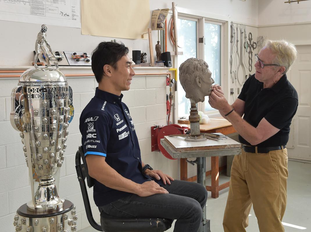 October 7, 2020 2020 Indianapolis 500 winner Takuma Sato sitting at Sculptor William Behrends Studio for BorgWarner. Tryon, North Carolina USA ©2020 Scott R LePage