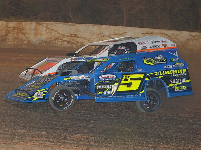 Tyler Nicely (5) battles Justin Allgaier Friday at 411 Motor Speedway. (Chad Wells Photo)