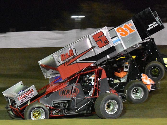 Ryan Rocha (5R) on his way to victory Friday at Merced Speedway. (Joe Shivak Photo)
