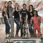 Kyle Larson (center) shares the podium with Carson Macedo and Rico Abreu. (Ben Thrasher photo)