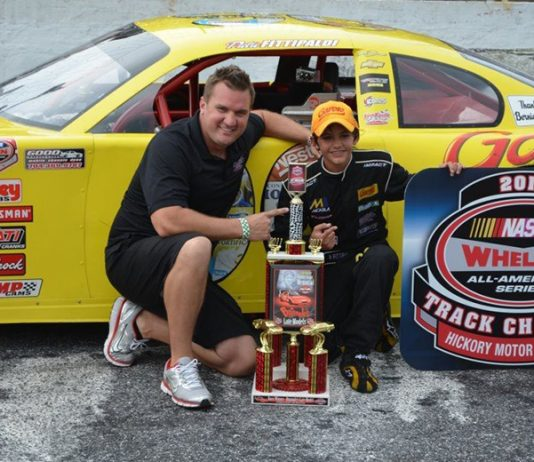 Pietro Fittipaldi (right) poses with Lee Faulk Racing's Michael Faulk after winning the 2011 Hickory Motor Speedway limited late model track title. (NASCAR/Hickory Motor Speedway Photo)