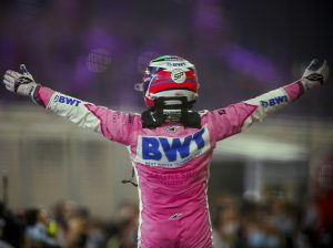Sergio Perez emerges from his car after winning the Sakhir Grand Prix. (Racing Point Photo)