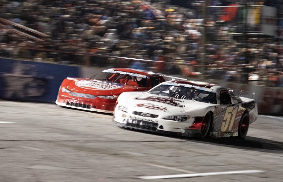 Stephen Nasse (51) battles Dylan Fetcho during Saturday's Snowflake 100 at Five Flags Speedway. (Jason Reasin Photo)