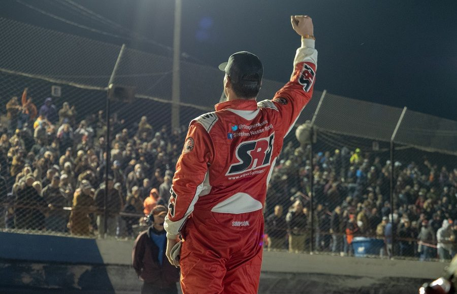 Stephen Nasse salutes the crowd after initially winning the Snowflake 100, only for race officials to take the victory away from him moments later. (Jason Reasin Photo)