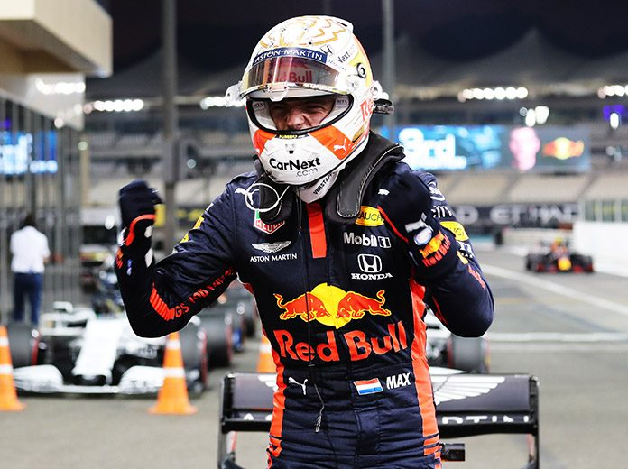 Max Verstappen celebrates after claiming the pole for the Abu Dhabi Grand Prix. (Kamran Jebreili - Pool/Getty Images Photo)