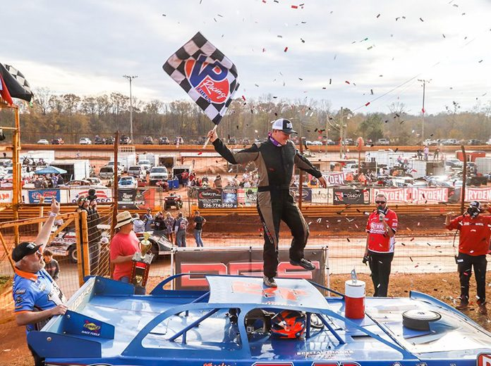 Michael Brown celebrates after winning Saturday's Drydene Xtreme DIRTcar Series event at Lavonia Speedway. (Chris Anderson Photo)
