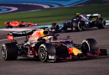 Max Verstappen (33) leads Valtteri Bottas during Sunday's Abu Dhabi Grand Prix. (Giuseppe Cacace/Getty Images for Red Bull photo)