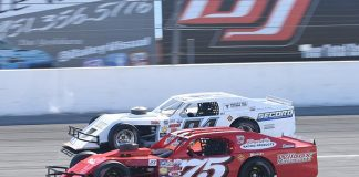 Jeremy Doss (75) and Eddie Secord will battle for the SPEARS Modified Series title this weekend in California. (Sal Sigala Jr. Photo)