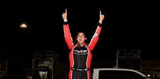 Jeremy Doss celebrates his victory in Saturday's SPEARS Manufacturing Modified Series finale at Kern County Raceway Park. (Steve Himelstein Photo)