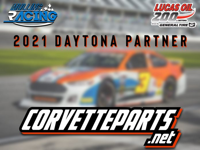 CorvetteParts.net has joined Mullins Racing for the ARCA Menards Series opener at Daytona Int'l Speedway.