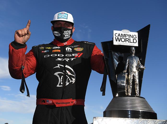 Matt Hagan delivered the NHRA Funny Car championship to Don Schumacher Racing this year. (NHRA Photo)