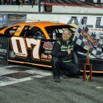 Jeff Scofield in victory lane Saturday at New Smyrna Speedway. (Jason Reasin Photo)
