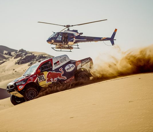 Nasser Al-Attiyah topped the second stage of the Dakar Rally on Monday in Saudi Arabia (Red Bull Photo)