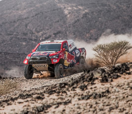 Nasser Al-Attiyah for Toyota Gazoo Racing Team races during stage four of Rally Dakar 2021 from Wadi Ad-Dawasir to Riyadh, Saudi Arabia. (Red Bull Content Pool photo)